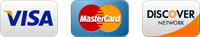 We accept most major credit cards: Visa, Master Card and Discover