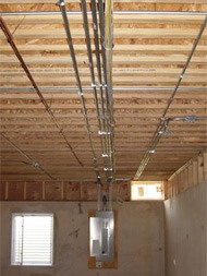 Rough-in electricial piping for recesssed lighting