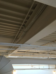 CAT5e ethernet cable hidden in the ceiling so it's barely visible.